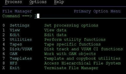 file manager primary option menu