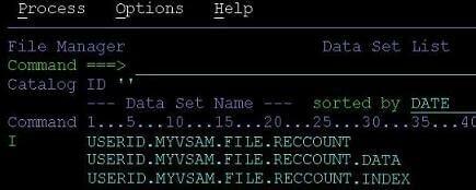 file manager data set list
